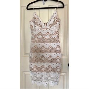 Lulu's Beige and White Lace Cocktail Dress